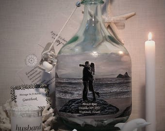 Messages In A Bottle Guestbook, Personalized Guestbook Alternative With Your Photo and Hand Painted Embellishments,Bridal Shower Well Wishes