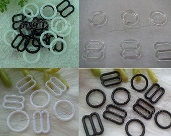 Lots 1000pair plastic bra Lingerie Adjustment strap slides and rings Rectangular Figure 8 shape with 0 shape