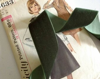 """Dark Olive Green Velvet Ribbon, Natural Woodland Green Ribbon for Bows, Floral, and Millinery 1.5"""" 38mm"""