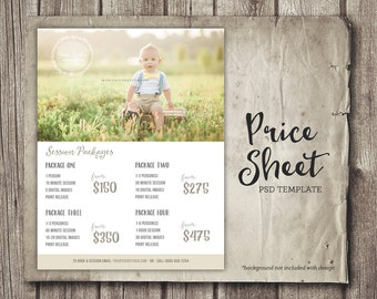 Photography Template - Price List - Marketing - Photoshop Photography Price Sheet Packages Template Sell Sheet Packages - INSTANT DOWNLOAD