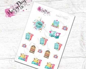 Kawaii Travel Holiday Vacation Planner Stickers - Cute Kawaii Planner Stickers ECLP, Happy Planner, TN, Personal Planner etc