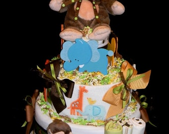 Safari Pal Diaper Cake - Jungle Themed Diaper Cake with Lots of Baby Items