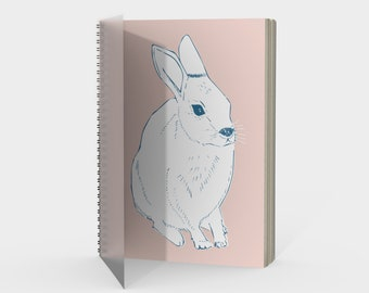 Rabbit Spiral Notebook in Blush Pink with drawing paper or sketch paper blank, ruled, graph or bullet journal metal coil, gift for friend