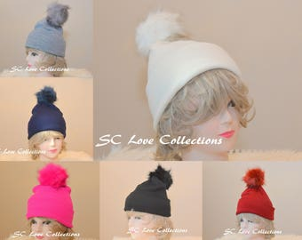 Solid Acrylics Pompom Faux Fur Beanies Red Fuschia White Blue Gray Black Warm Cozy Snow Wear Women's Beanie Hats One Size Assorted Colors