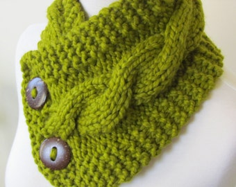 "Chunky Cable Neckwarmer Knit Thick Lemongrass Scarf Wool Blend 6"" x 25"" - Cocconut Shell Buttons Ready to Ship - Direct Checkout"