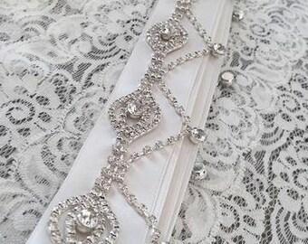 Rhinestone Bridal belt, beaded bridal sash