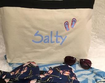 Salty Beach Bag / Beach Tote / Canvas Beach Bag / Bikini Bag