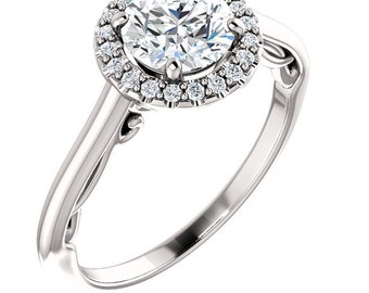 1.15 ctw Halo Engagement Ring, Floral Halo Ring,  Swarovski Cubic Zirconia  Wedding Ring  In Solid 10K White Gold