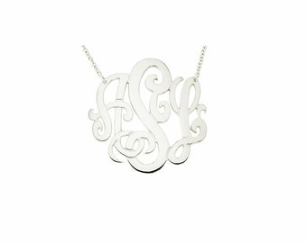 "14W-Mono150 - 14K White Gold 1.5""  Monogram Necklace"