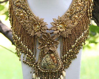 Bead Embroidery Necklace Big Bib Necklace gold beadwork art jewelry bead embroidered neckpiece beaded jewelry neckpiece Elven forest