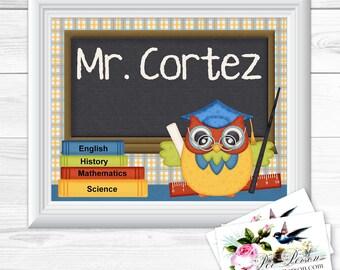 "Personalized / Custom Gift Teacher Appreciation, Principal, Administrator, Aide, Tutor, Subway Style Wall Art Sign 8x10"" Horizontal Any Name"