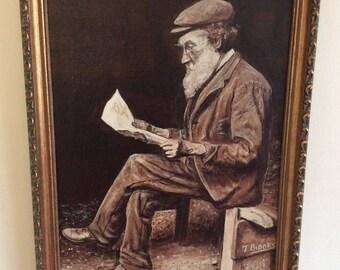 Vintage Original painting, framed, signed 'T.Brooks', original art.