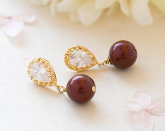 Gold Burgundy Marsala Dangle Earrings Swarovski Maroon Dark Red Pearl Clear Crystal Cubic Zirconia CZ Post Earrings Wedding Bridal Earrings