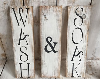 Wash & Soak Wooden Bathroom Sign Set