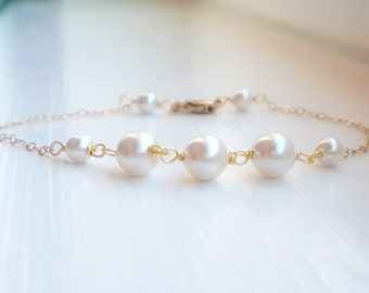 White pearl bracelet 14k gold filled or sterling silver, wedding jewelry, bridesmaid gift