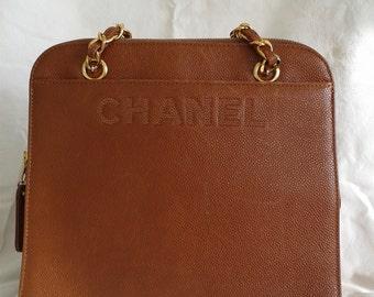 Authentic CHANEL Tote Handbag Brown Caviar Leather Vintage 1980's