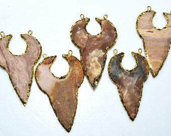 5 Pieces Brand New Jasper Arrowhead Double Bail Pendant - Electroplated With 24K Gold Plated Pendant, 54 - 58 mm, AH429