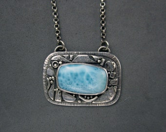 Larimar Necklace, Mosaic Necklace, Sterling Silver