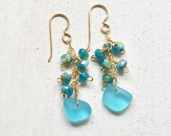 Sea Glass Earrings Gold, Beaded Dangle Earrings, Sea Glass Dangle Earrings, Aqua Sea Glass Earrings, Beachy Earrings