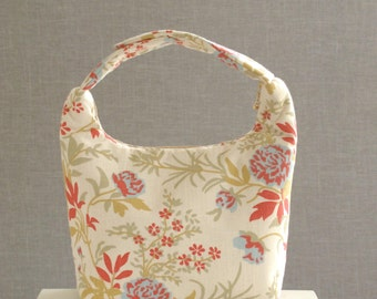 Insulated Lunch Bag, Girls Lunch Bag, Lunch Tote, Women Lunch Bag, Insulated Baby Food Carrier, Beautiful Spring Flowers on Cream white