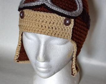 aviator bomber hat filght googles crochet