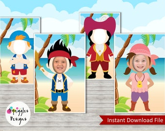 Jake And The Neverland Pirates Photo Booth Props (includes Jake, Izzy, Cubby & Captain Hook) - Digital File