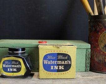Vintage Waterman's Blue Black Ink in Vintage Box // 1950s Office