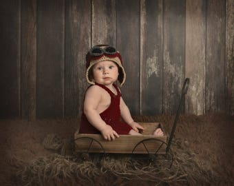 Sitter Aviator Hat and Overalls Set / Bomber Hat / Pilot's Hat / Baby Boy / Newborn Photography Prop / Australian Seller