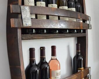 California Wine Barrel wine rack holds 12 - 14 bottles made from reclaimed wine barrels