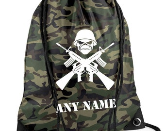Personalised Camouflage/Army/Skull PE/Swim Duffle/Drawstring Bag - *Choice of colours*