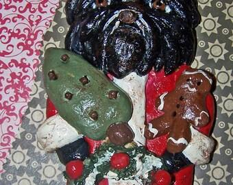 Antique Folk Art Shih Tzu Santa Claus Christmas Ornament OOak Vintage Style Doll
