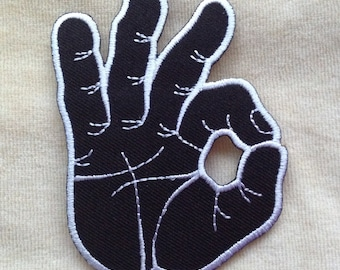 Ok Okay Hand Symbol Iron On Patch #Black