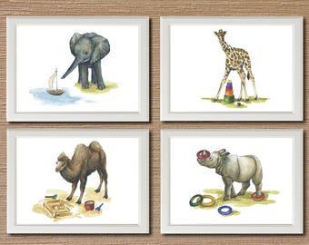 Safari Nursery wall art on canvas Animal decor Watercolor print Baby shower gift Nursery decor Gift for kids Wall decor Baby animal print