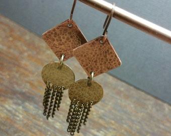 Bohemian Earrings, Copper Jewelry, Dangle Earrings, Metalwork Earrings