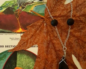 Obsidian and lava rock aromatherapy diffuser necklace