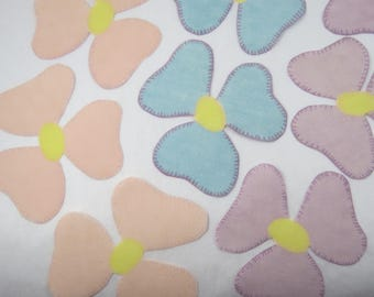 Vintage Three Petal Flower Appliques, Fabric Cut outs, Iron On, Sew On, 11 pc, Pastel Peach  Baby Blue Lavender