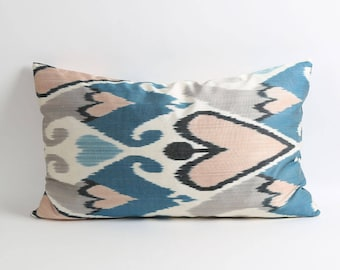 Ikat pillow cover, Double side silk ikat pillow, Handwoven fabric 16x26 inch