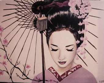 Example of a table to order - geisha art acrylic painting on order