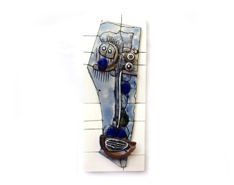 Blue face, Modern ceramic mask, Blue wall sculpture, Abstract ceramics, Wall art ceramic, Blue ceramic, Ceramic artist, Unique ceramic