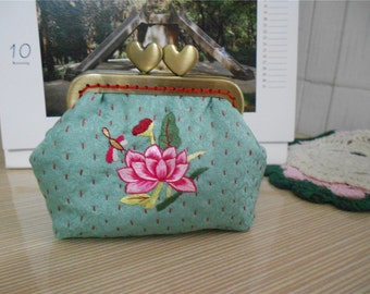 Embroidery Coin Purse/ Metal Frame Purse / Change Purse / Kisslock Purse Free Shipping