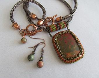 Cherry Creek Jasper Beaded Pendant Set with Viking Knit Chain, Bracelet and Earrings
