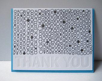 Letterpress Thank You Card - Thank You - hand drawn - Thank you notecard - circles - pattern - gratitude - subtle - typography - black