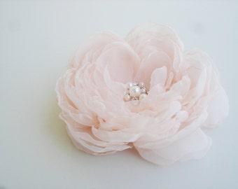 Wedding Hair Accessories Blush Pink Wedding Chiffon Flower Hair Clip  Bridal Hair Piece  Flower Girl Organza  Bulk Hair Flower Clip