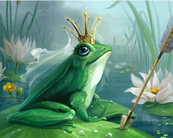 Cartoon Animal Diamond Painting Frog Prince Water Drill With A Cross Mosaic Full Of Home Decoration Paintings