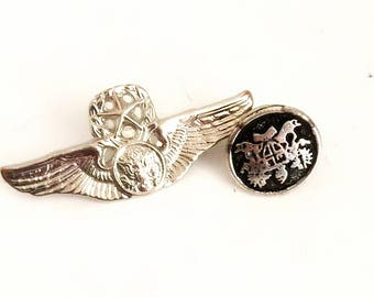 vintage military wings emblem pins badges medals clips jewelry