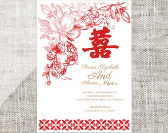 Diy printable editable chinese wedding invitation card diy printable editable chinese wedding invitation card template instant downloadelegant traditional red floral stopboris Choice Image