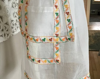 Vintage white embroidered organdy apron