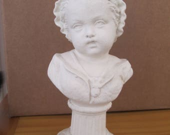 Victorian Metal Bust Of A Young Girl With A  White Washed Finish