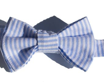 Seersucker Bow Ties for Boys - Baby Boy Bow tie - Pre-tied Bow Ties for Toddler - Wedding Ties - Baby Boys  Blue tie - Boys Holiday Bowtie