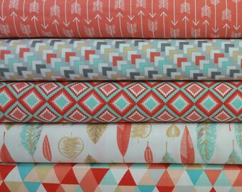 Coral Kohana Bundle from 3 Wishes Fabrics - 5 Fabrics